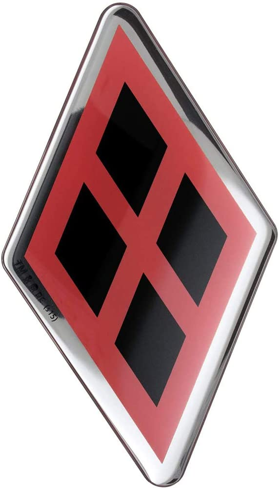 Harley Quinn Logo Domed Car Decal (Chrome, Black Diamonds on Red) DC Comics Automotive Emblem Sticker Applies Easily toCars, Trucks, Motorcycles, Laptops, Cellphones, Almost Anything