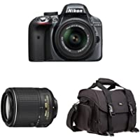 Nikon D3300 DX-Format DSLR Camera (Grey) with 18-55mm and 55-200mm Lenses