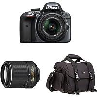 Nikon D3300 DX-Format DSLR Camera (Grey) with 18-55mm and 55-200mm Lenses