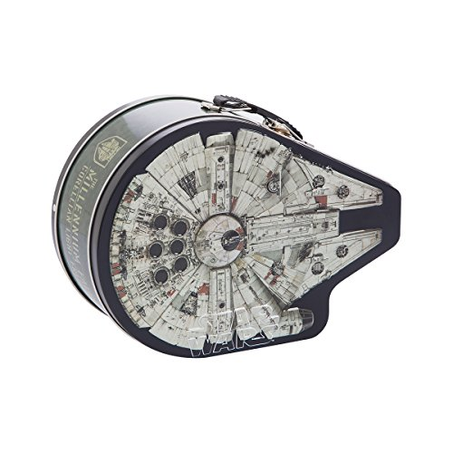 Vandor 99770 Star Wars Millennium Falcon Shaped Tin Metal Lunchbox Tote with Handle, 7.5 x 3 x 7.75 Inches, Multicolor