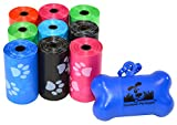 180 Pet Waste Bags, Dog Waste Bags, Bulk Poop Bags on a roll, Clean up poop bag refills - (Color: Rainbow with Paw Prints) + FREE Bone Dispenser by Downtown Pet Supply
