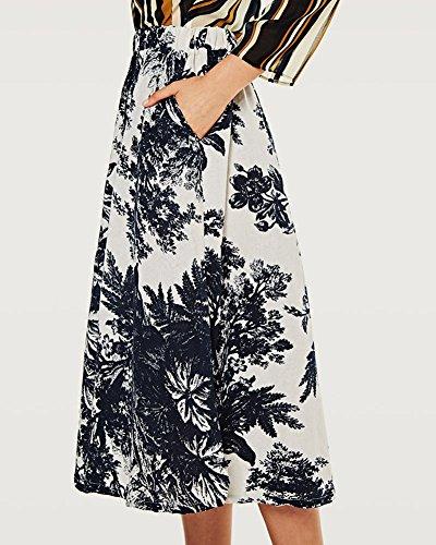 Print Maxi Art Retro Jupes Grand Et A Bohemian Couleur Plage Nouvelle Jupe Littrature Femme 1 Fluide Style Line Longue t Robe Swing UxfWzqPnEw