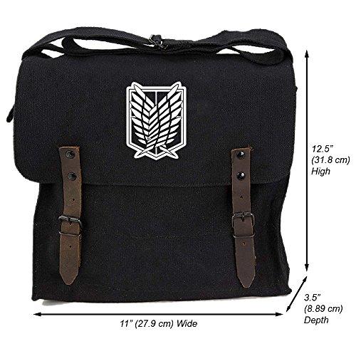 Dual Wing (Attack on Titan Dual Wing Heavyweight Canvas Medic Shoulder Bag, Black)
