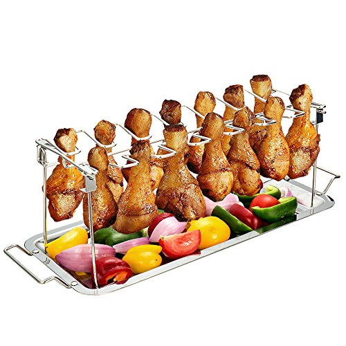 G.a HOMEFAVOR Chicken Leg Wing Rack 14 Slots Stainless Steel Metal Roaster Stand with Drip Tray for Smoker Grill or Oven, Dishwasher Safe, Non-stick, Great for BBQ, Picnic by G.a HOMEFAVOR