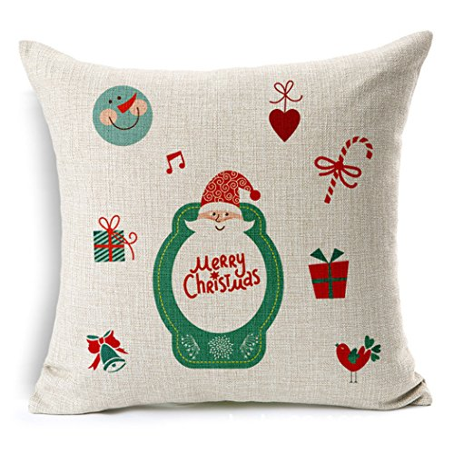 BPFY 4 Pack Christmas Decorations Home Decor Merry Christmas Pillow Covers Christmas Deer,Tree Sofa Throw Pillow Case Cushion Cover 18 x 18 Inch,Christmas Gifts
