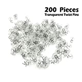 OTRMAX 200 Pieces Upholstery Twisty Pins Clear Heads, Plastic Head Screw Nail, Holds Bedskirts, Slip Covers, Drapes Other Fabric Materials Securely In Place