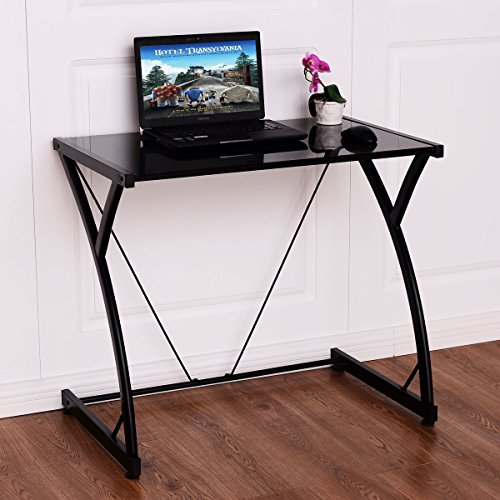 Tangkula Glass Top Computer Desk PC Laptop Table Writing Study Workstation Home Office - Glass Laptop Desk