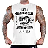 Men's Nature Is My Religion Earth Is My Church Tee B994 PLY White T-Shirt Tank Top X-Large