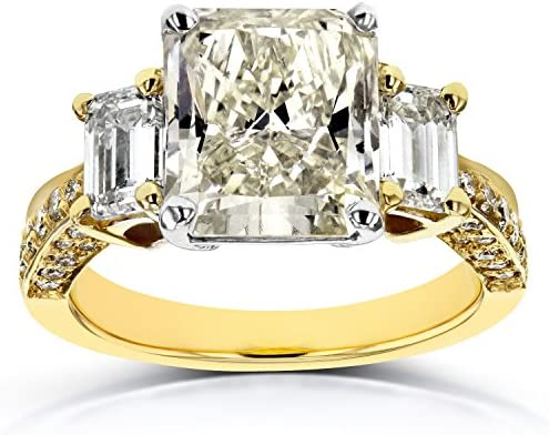 Kobelli Three-Stone Radiant and Emerald Diamond Engagement Ring 5 4/5 CTW in 18k Two-Tone Gold (Certified)