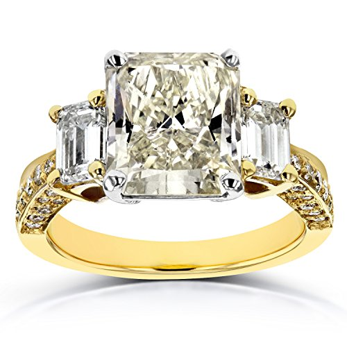 (Three-Stone Radiant and Emerald Diamond Engagement Ring 5 4/5 CTW in 18k Two-Tone Gold (Certified), Size 6.25, White & Yellow Gold)
