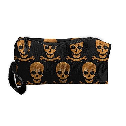 Red Sickle Leaf (Bike Pirate Skull Funny Skull Portable Travel Cosmetic Bag Toiletry Bag Mini Makeup Bag Organizer Handbag For Women & Men)