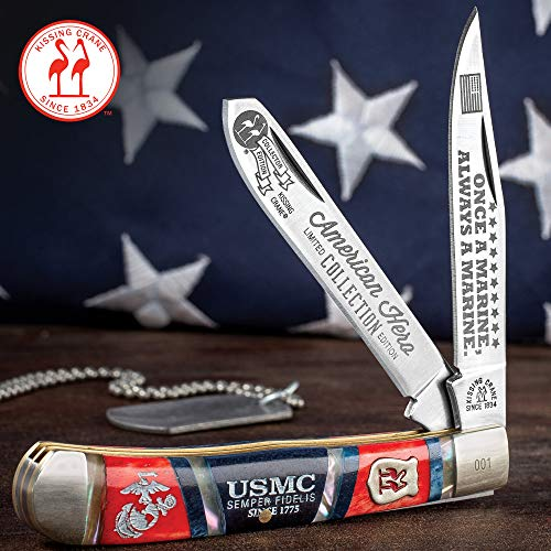 Kissing Crane USMC Dress Blues Trapper Pocket Knife – Stainless Steel Blades, Bone and Pearl Handle Scales, Nickel Silver Bolsters, Brass Liner