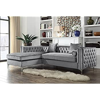 e0ea0a19c471 Iconic Home Da Vinci Tufted Silver Trim Grey Velvet Left Facing Sectional  Sofa with Silver Tone