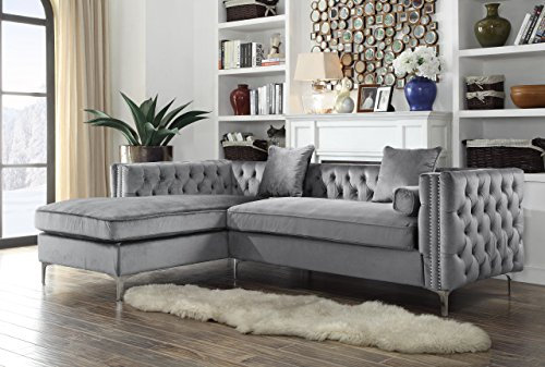 Iconic Home Da Vinci Tufted Silver Trim Grey Velvet Left Facing Sectional Sofa with Silver Tone Metal Y-Legs Left Sectional