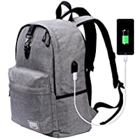 Beyle Anti-Theft Water Resistant Travel Laptop Backpack w/ USB Charging Port (Grey)