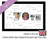 70th Birthday Signing Personalised Autograph Signature Guest Book Photo Frame To Sign by Photos in a Word (White Mount with Black Finish Frame) by Photos in a Word