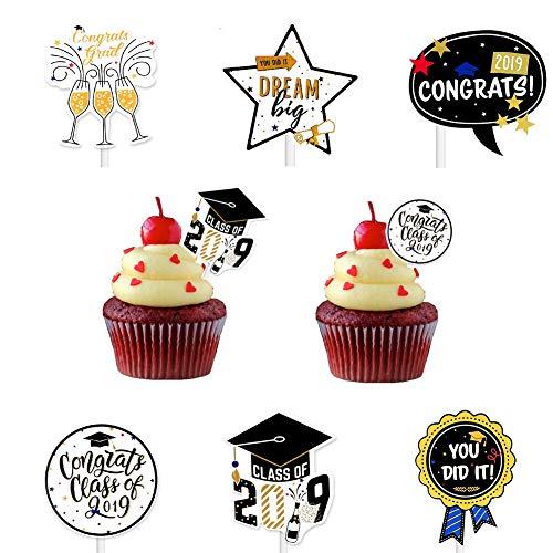 Graduation Cupcake Toppers 2019, Horkutun Graduation Cupcake Picks Graduation Party Supplies for Class of 2019 Decorations, Set of 24]()