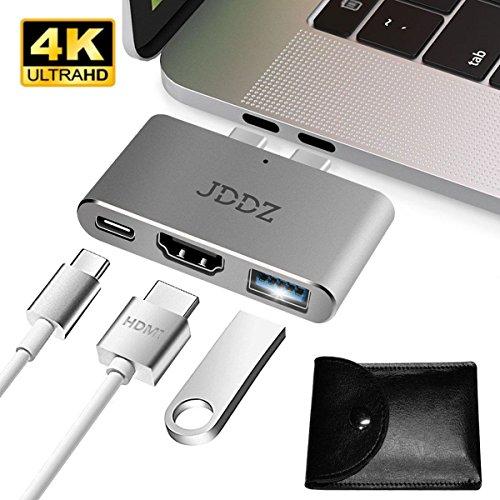 "USB C Hub, JDDZ Aluminum 3 in 1 USB C Hub Adapter to HDMI 4K USB 3.0 Thunderbolt 3 Port Type C Hub Adapter Digital Multiport Converter for MacBook Pro 2017/2016 13"" 15"""