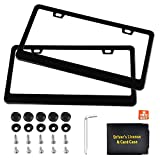 #5: Awindshade Matte Black License Plate Frame Stainless Steel License Plate Frames, 2PCS 2 Hole Car License Plate Covers Holders with Bolts Washer Caps, Car Document Holder for US Standard