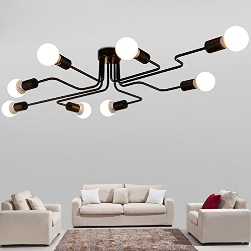 Baycheer hl420000 industrial vintage styl wrought iron large semi baycheer hl420000 industrial vintage styl wrought iron large semi flush ceiling light with 8 e2627 aloadofball Images