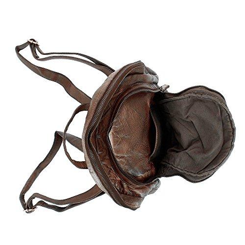 DUDU Mochila Mujer Trenzada de suave Piel Vintage Casual con Doble Cremallera Cocoa Brown
