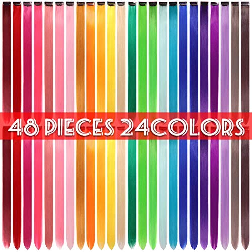 48 Pcs Colorful Straight Hair Extensions Clip in 21 Inch Rainbow Multi-color Clip in Synthetic Long Hairpiece Party Highlights Colorful Clip in Hair Extensions for women girls kids gift
