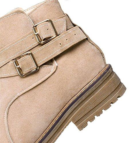 Aisun Donna Casual Comfort Strappy Cinturino Fibbia Punta Rotonda Stivaletti Tirano Su Stivaletti Flat Scarpe Beige