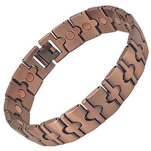 SIX21 Brushed Link Magnetic Copper Bracelet for Arthritis Relief - Pure Copper, 17 Magnets, Adjustable Bangle - for Men and Women (Mission)