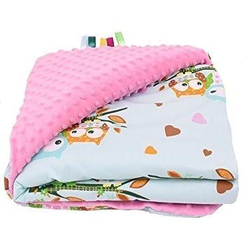 couverture de bébé Sevira Kids   Couverture bébé Minky   ultra douce   Hiboux Rose  couverture de bébé