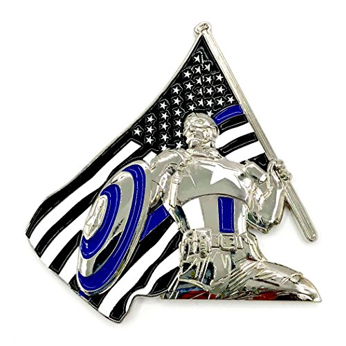 Marvel Captain America - 3D America's Shield & Thin Blue Line Blue Lives Matter USA Flag, Law Enforcement Officers (LEO) NYPD Military Police Challenge Coins with Unique Serial - Coin Captain Challenge