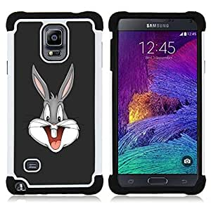 GIFT CHOICE / Defensor Cubierta de protección completa Flexible TPU Silicona + Duro PC Estuche protector Cáscara Funda Caso / Combo Case for Samsung Galaxy Note 4 SM-N910 // Cartoon Bunny //