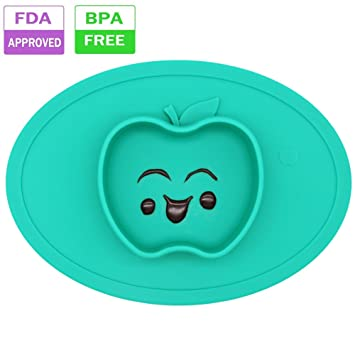 Silicone Baby Placemat Bowl Highchair Feeding Tray Round Suction Plate For  Kids Toddlers Kitchen Dining