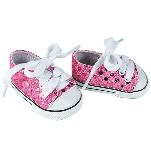 18 Inch Doll Sneakers Light Pink Glitter Doll Sneakers Shoes Fit 18 Inch American Girl Dolls & More! Pink Glitter Sneakers