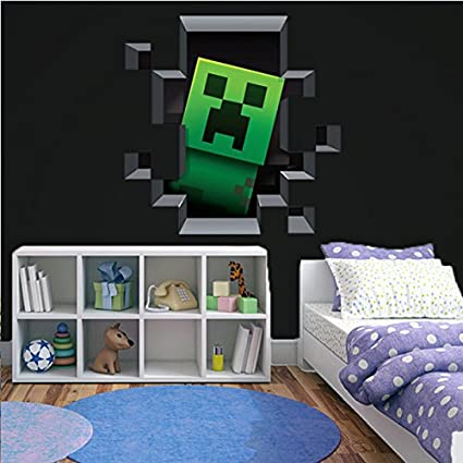 Incroyable 3D Minecraft Style Wall Decal Poster Sticker Room Bedroom Decor Video Game
