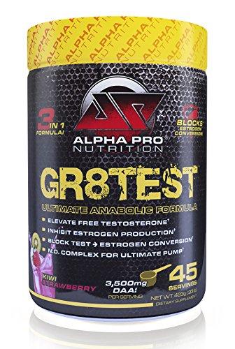 GR8TEST Testosterone Booster Alpha Pro Nutrition, Estrogen Blocker / No Caffeine Pre Workout with estro block, Post Workout, Anti Aromatase, 45 servings Kiwi Strawberry - Testosterone Stimulator