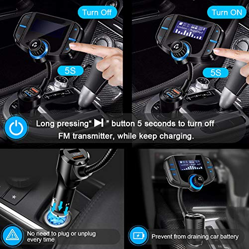 [Upgraded 2019] Bluetooth FM Transmitter for Car with QC 3.0, LUMAND Wireless Radio Adapter Hands Free Car Kit w/1.7 Inch Display and Dual USB Car Charger Support Power Off, AUX Output, TF Card Slot by LUMAND (Image #1)