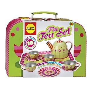 ALEX Toys Tin Tea Set - 51TmoMw00lL - Alex Pretend Tea Time Kids Tea Set, 16 Piece