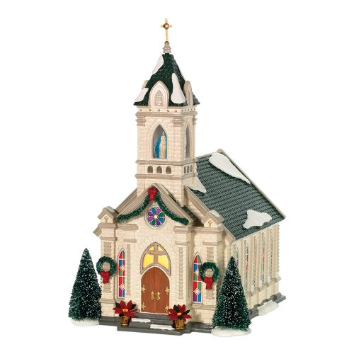 Painting Church In Snow Religious Christmas Ceramic: Department 56 Snow Village Our Lady Of Grace Church