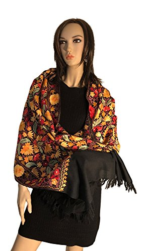 Pashmina Shawls with Multi color Embroidery Kashmiri style by Oceanvils
