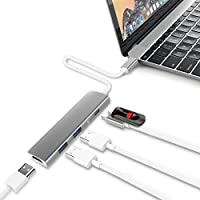 USB C Hub, SUPVIN Multi-port Type C to HDMI Converter Adapter USB-C 3.1 Charging, HDMI 4K Output,2 USB 3.0 Ports for MacBook MacBook Pro 2017 2016 New, Google Chromebook 2016 and more (Space Grey)