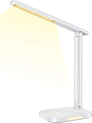 LITOM LED Desk Lamp, Eye-Caring Office Table Lamps with Night Light, 10 Brightness, 5 Color Temperature, USB Charging Port, 1H Timer, Touch Control for Home Office, Work, Study (White)