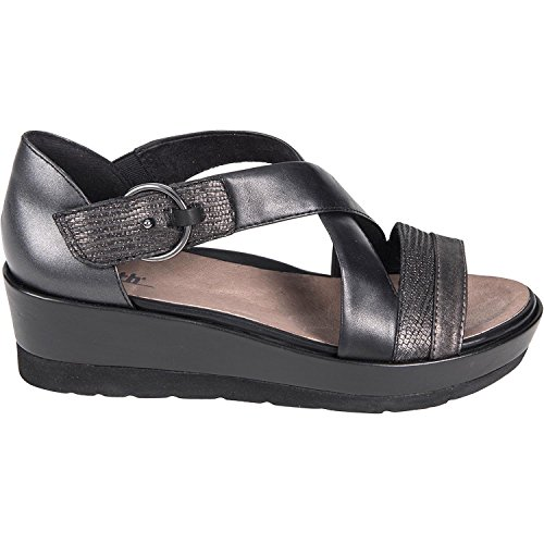 (Earth Womens Hibiscus Black Multi Distressed Leather Sandal -)