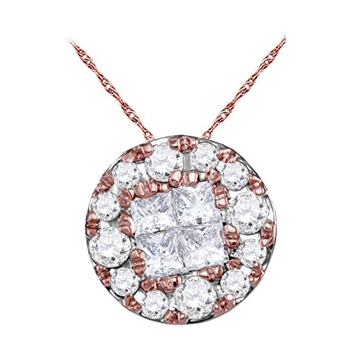 14kt Rose Gold Womens Princess Round Diamond Soleil Cluster Pendant 1/4 Cttw (I1-I2 clarity; H-I color) (Invisible Setting Rose Diamond Pendant)