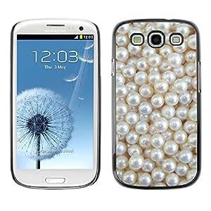 Cubierta de la caja de protección la piel dura para el SAMSUNG GALAXY S3 & I9300 - white rich pearl jewel gem