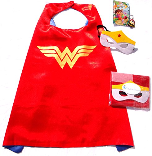 Three Piece Superhero Cape & Mask Sets with bonus prize for Pretend Play, Dress Up, & Parties by Color-N-Splash (Wonder Woman)