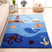 MAXYOYO Boys and Girls Cartoon Carpet Pink/Blue Kids Bedroom Soft Carpet Childrens Rugs (Octopus)
