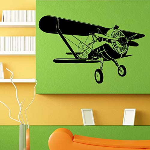 Wall Decals Cute-Air Plane Crop Duster Old School Aviation Design Wall Sticker Vinyl Mural Decal Home House Apartment Art Decor - Made in USA-Fast delivery