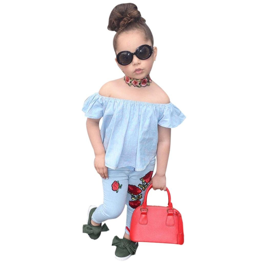 FEITONG Toddler Little Girl Off Shoulder Rose Floral T Shirt Tops Pants Outfit Clothes Set Kids Little Girls Clothes