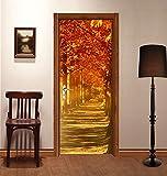 "3D Sunset Trees 45 Door Wall Mural Photo Wall Sticker Decal Wall | Self-adhesive 3D Door Wall Mural , AJ WALLPAPER US Lemon (Vinyl (No Glue & Removable), 【81""x32""】205x82cm(HxW))"