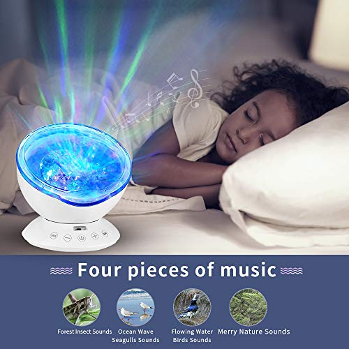 Ocean Wave Projector Lamp Music Player for Kid Adult,7 Color Changing Music Player Night Light Projector LED Concepts Bedroom Living Room Nursery Gift (White)